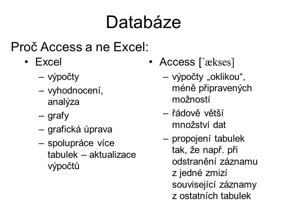 Databáze Proč Access a ne Excel: Excel Access [´ækses] výpočty